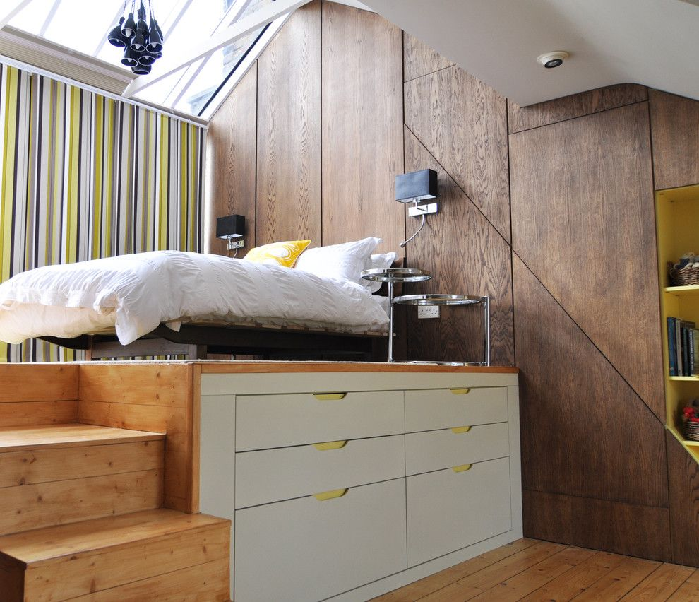 Malm Ikea Bed for a Contemporary Bedroom with a Platform Bed and Loft Bedroom by Kia Designs