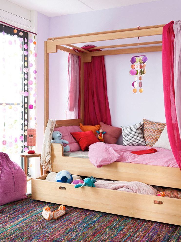 Malm Ikea Bed for a Contemporary Kids with a Under Bed Storage and Children Room by Huisstyling