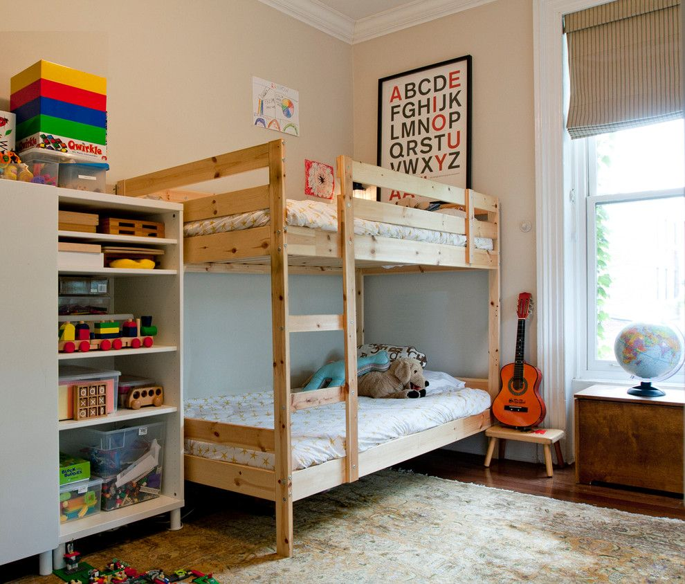 Malm Ikea Bed for a Eclectic Kids with a Beige Wall and Cobble Hill Coop by Shelly Chung Design