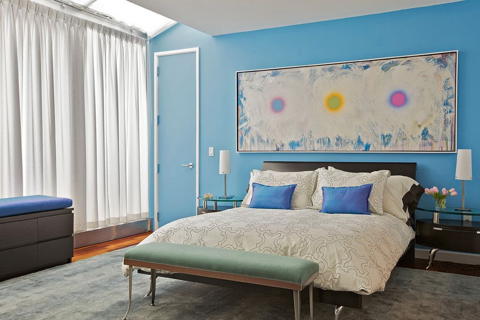Martin Senour Paints for a Contemporary Bedroom with a Drapes and Tribeca Penthouse by Marie Burgos Design