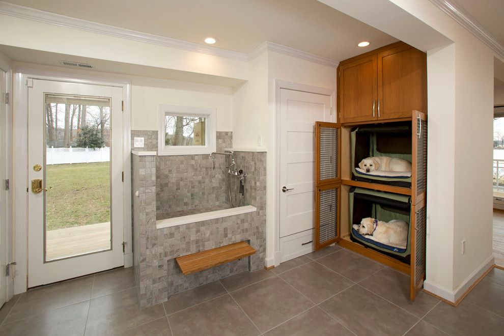 Midwest Homes for Pets for a Transitional Laundry Room with a Dog Beds and Dog Friendly Remodel by Four Brothers Llc
