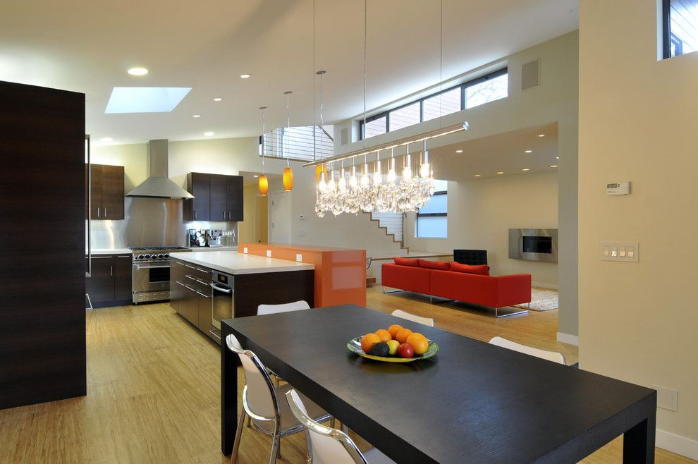 Mobern Lighting for a Contemporary Dining Room with a Great Room and Pope Residence by Ana Williamson Architect