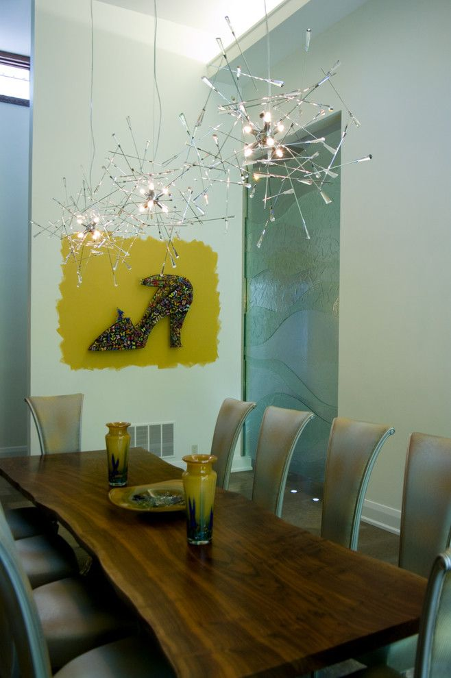 Mobern Lighting for a Contemporary Dining Room with a Translucent and Sisters in Sync by Sisters in Sync Design