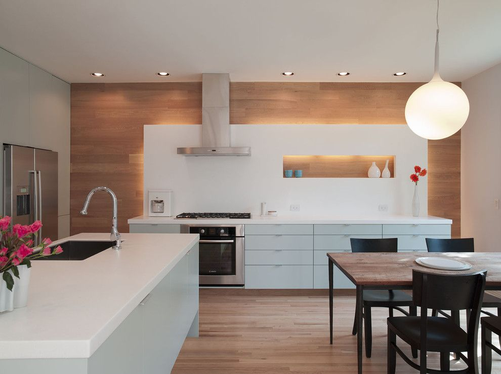 Mobern Lighting for a Modern Kitchen with a Accent Wall and Garner by Webber + Studio, Architects