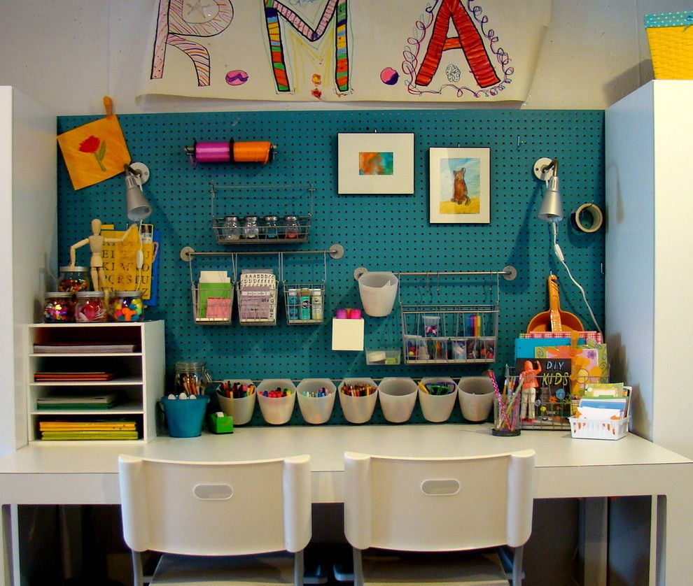 Mor Furniture Boise for a Contemporary Kids with a Blue Wall and Kids Art Studio by S Connors