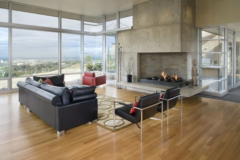 Mor Furniture Boise for a Contemporary Living Room with a Glass Wall and Plateau Residence by Glancey Rockwell & Associates