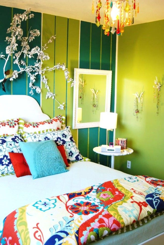 Mor Furniture Boise for a Eclectic Bedroom with a Eclectic and Color Fiesta Bedroom by Judith Balis Interiors