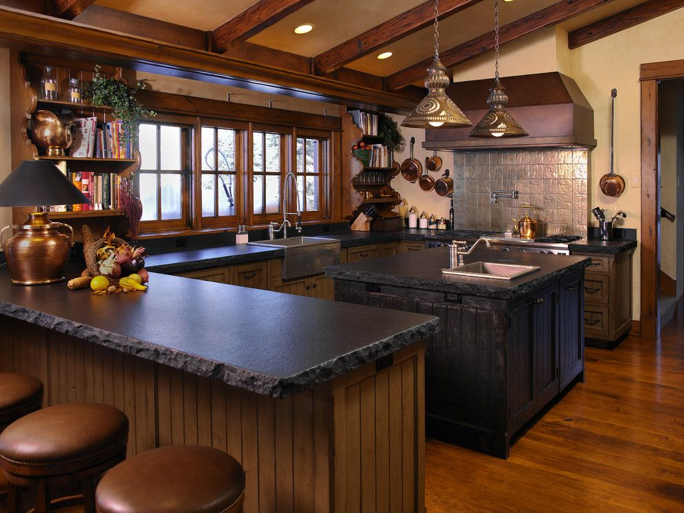 Mor Furniture Boise for a Rustic Kitchen with a Rustic Kitchen Island and Mountain Valley Residence by Damian Farrell Design Group