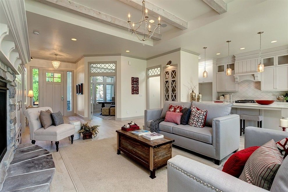 Mor Furniture Boise for a Traditional Living Room with a Gray Sofa and 2014 Fall Parade of Homes   the Chorley Cottage by Clark & Co Homes