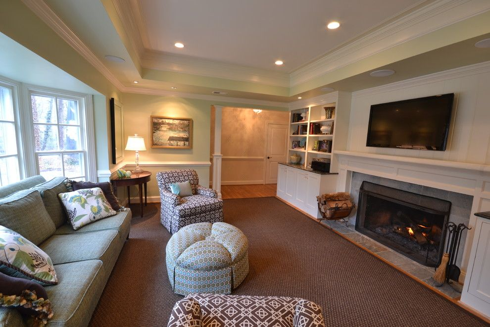 Morro Bay Theater for a Eclectic Living Room with a Built in Bookcase and Eclectic Living Room by Davidsonbld.com