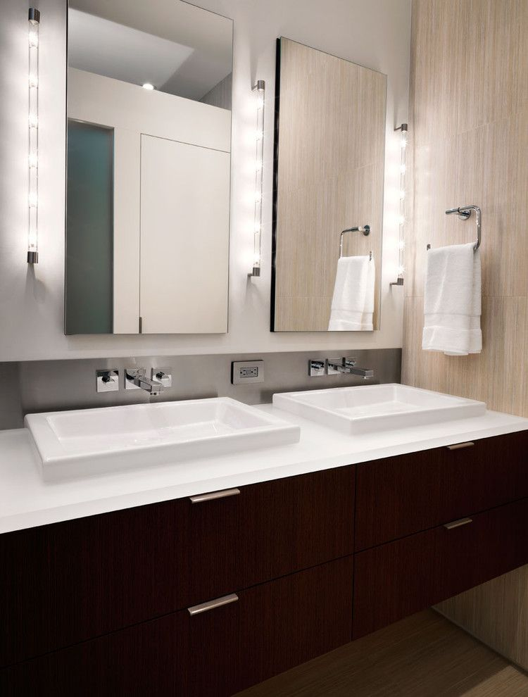 Nessen Lighting for a Contemporary Bathroom with a Bathroom Mirror and N Street Residence by Kube Architecture