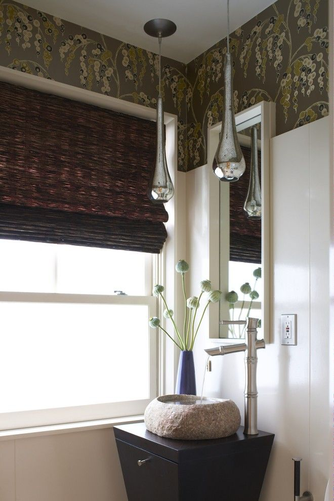 Nessen Lighting for a Contemporary Powder Room with a Roman Shades and Powder Room/bath by Rachel Reider Interiors