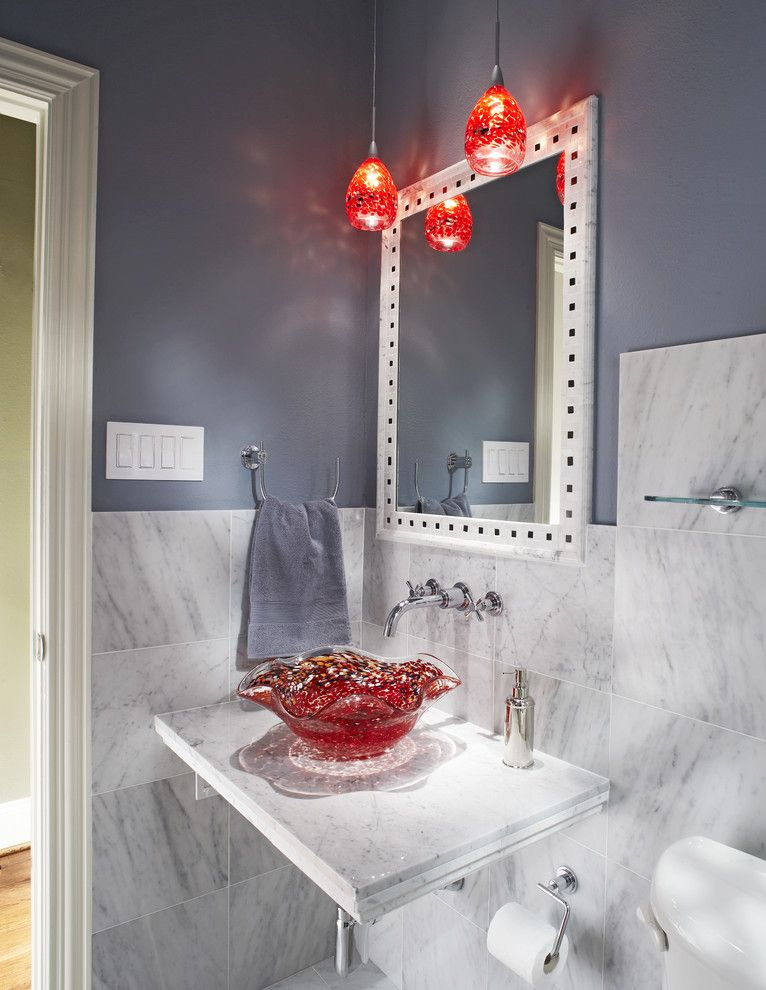 Nessen Lighting for a Eclectic Bathroom with a Pendant Lighting and Small Bath Remodel by Usi Design & Remodeling