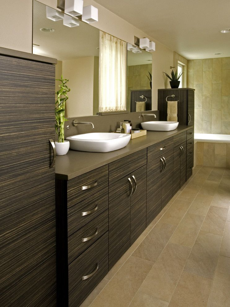 Nessen Lighting for a Modern Bathroom with a White Vessel Sink and Shoreline Modern Master Bath by Greene Designs Llc