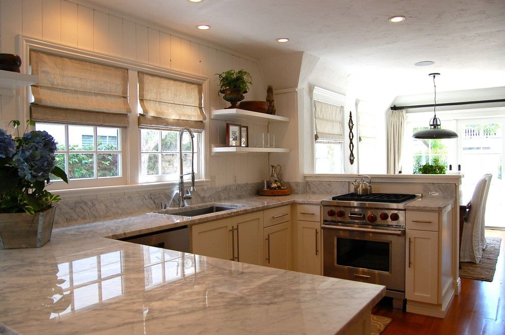 Newport Cottages for a Beach Style Kitchen with a Marble Countertops and 1925 Newport Beach Cottage Kitchen by J. Kramer Corp.