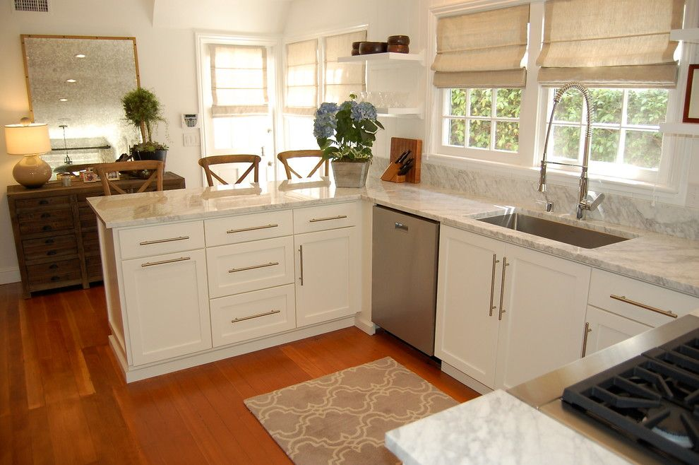 Newport Cottages for a Beach Style Kitchen with a Stainless Steel Pulls and 1925 Newport Beach Cottage Kitchen by J. Kramer Corp.