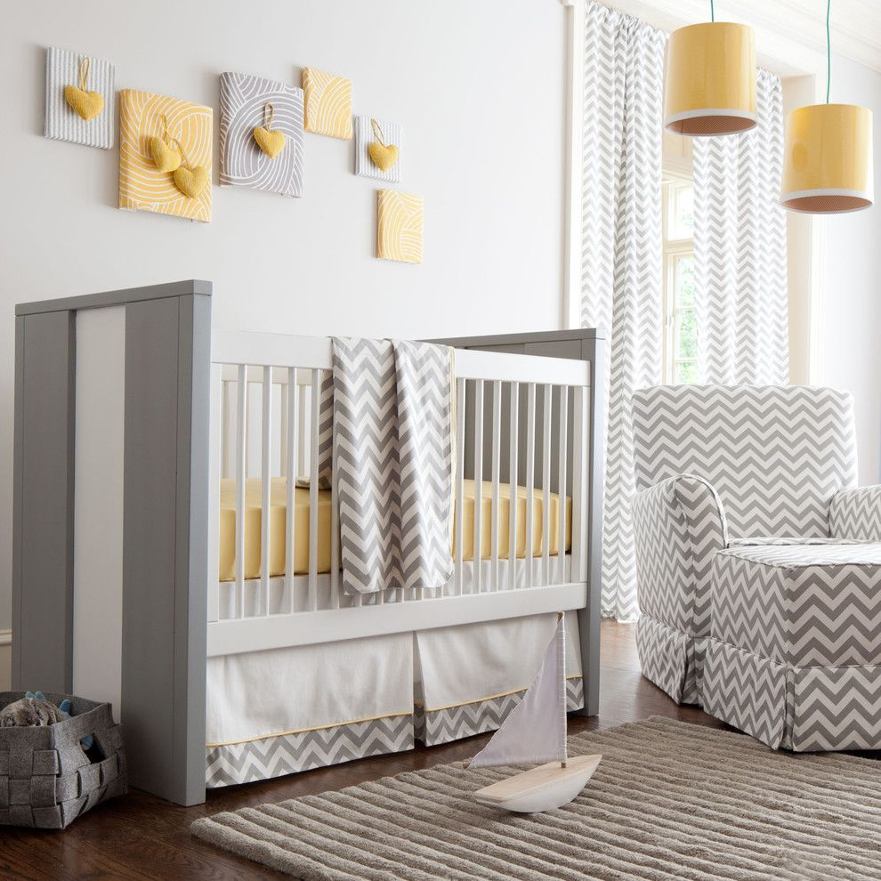 Newport Cottages for a Contemporary Kids with a Baby Nursery and Gray and Yellow Zig Zag Nursery by Carousel Designs by Carousel Designs