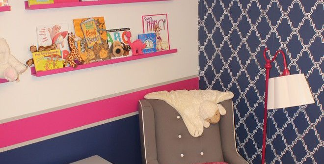 Newport Cottages for a Transitional Nursery with a Transitional and Seattle Pink & Navy Nursery by Henredon & Schoener