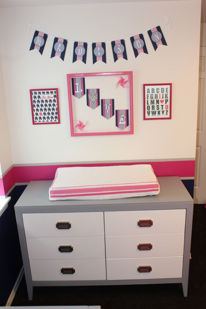 Newport Cottages for a Transitional Spaces with a Navy and Seattle Pink & Navy Nursery by Henredon & Schoener