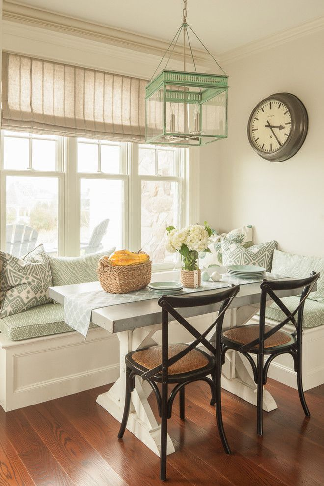 Nook Bistro for a Beach Style Dining Room with a Breakfast Nook and Private Beach Residence by Js Interiors Llc