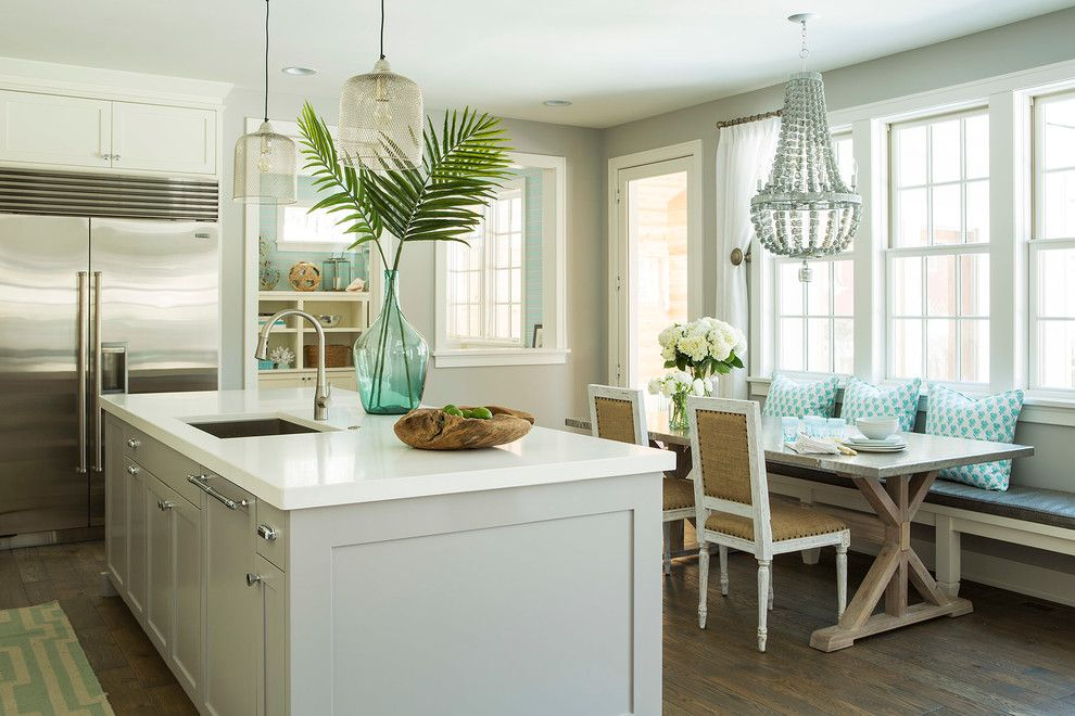 O Leary Paint for a Beach Style Kitchen with a Green Runner and Kellogg Road Residence by Martha O'hara Interiors
