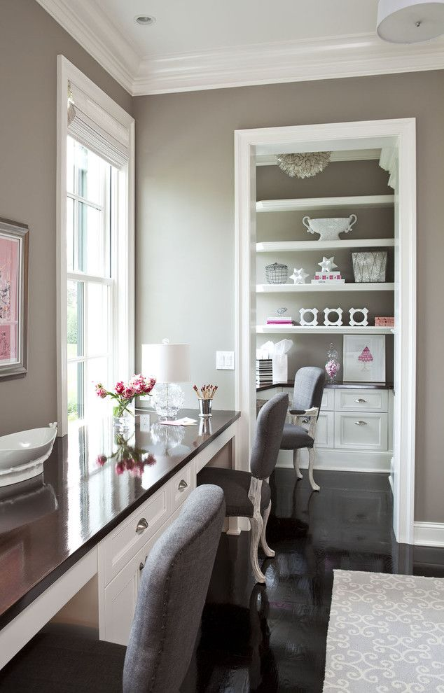 O Leary Paint for a Traditional Home Office with a Art and Parkwood Road Residence Office by Martha O'hara Interiors