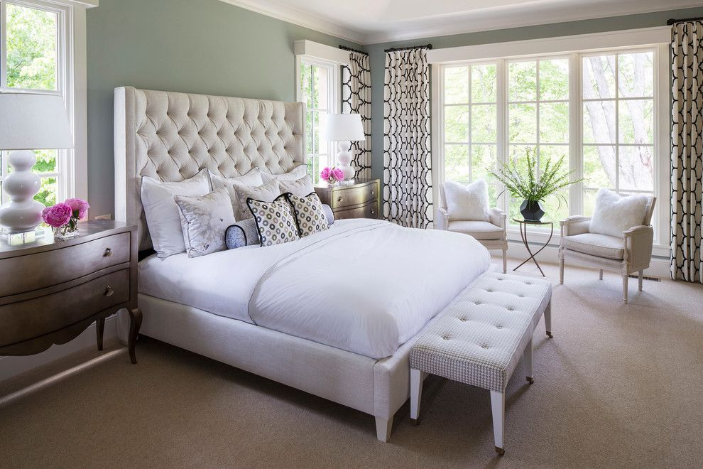 O Leary Paint for a Transitional Bedroom with a White and Black Lattice Curtains and Locust Hills Drive Residence 2 by Martha O'hara Interiors