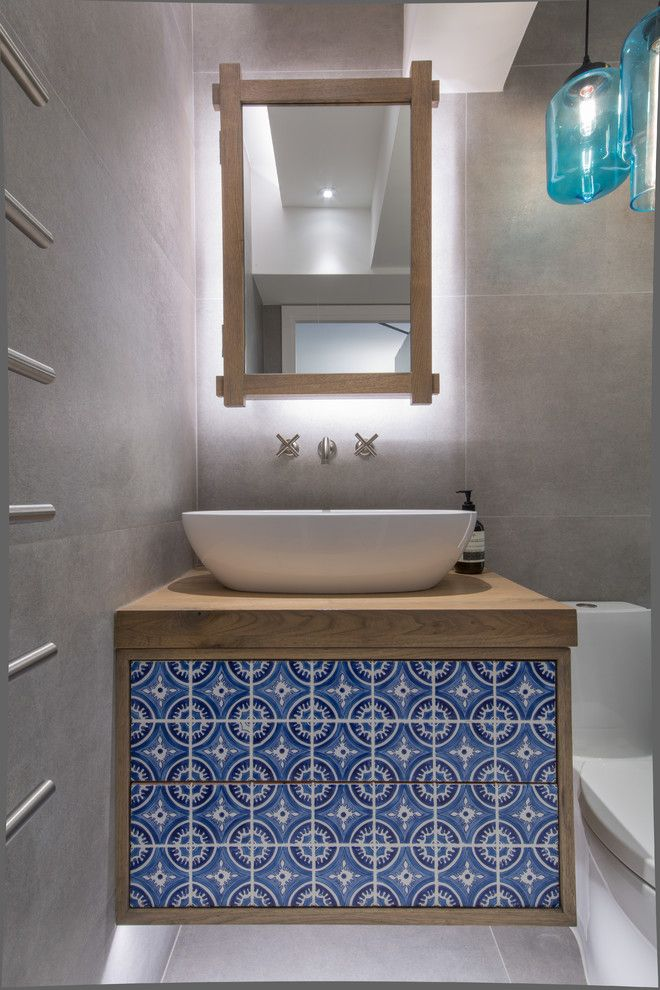 Oak Liquidators for a Contemporary Powder Room with a Turkish Inspired Tile and Fujiya Mansions Residence by Liquid Interiors Limited