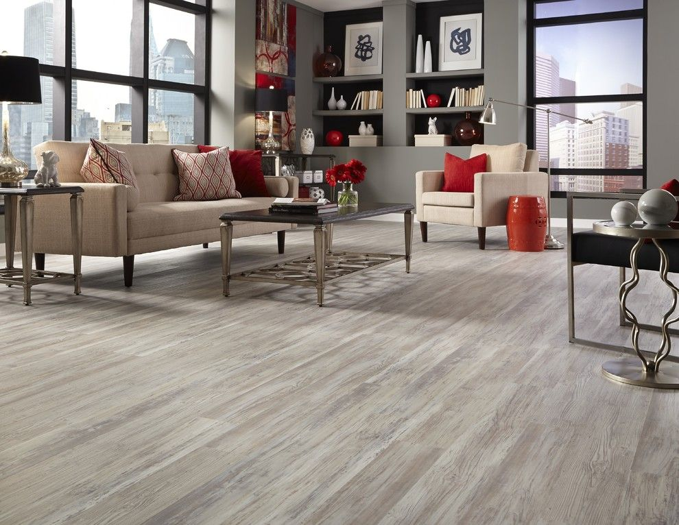Oak Liquidators for a Modern Spaces with a French Bulldog Sculpture and Tranquility  5mm Grizzly Bay Oak Click Resilient Vinyl by Lumber Liquidators