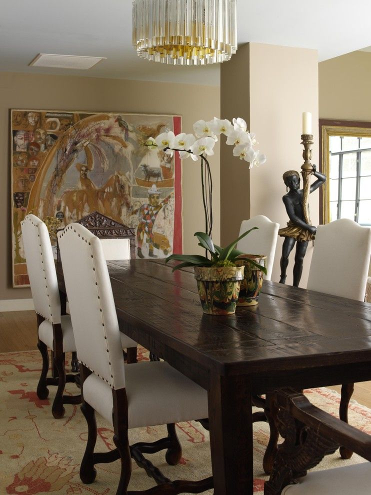 Oak Liquidators for a Traditional Dining Room with a Wood Dining Table and Dining Room by Tara Seawright