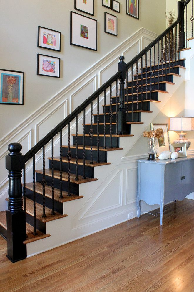 Oak Liquidators for a Traditional Staircase with a Turned Newel and Painted Black Risers by Stacy Jacobi