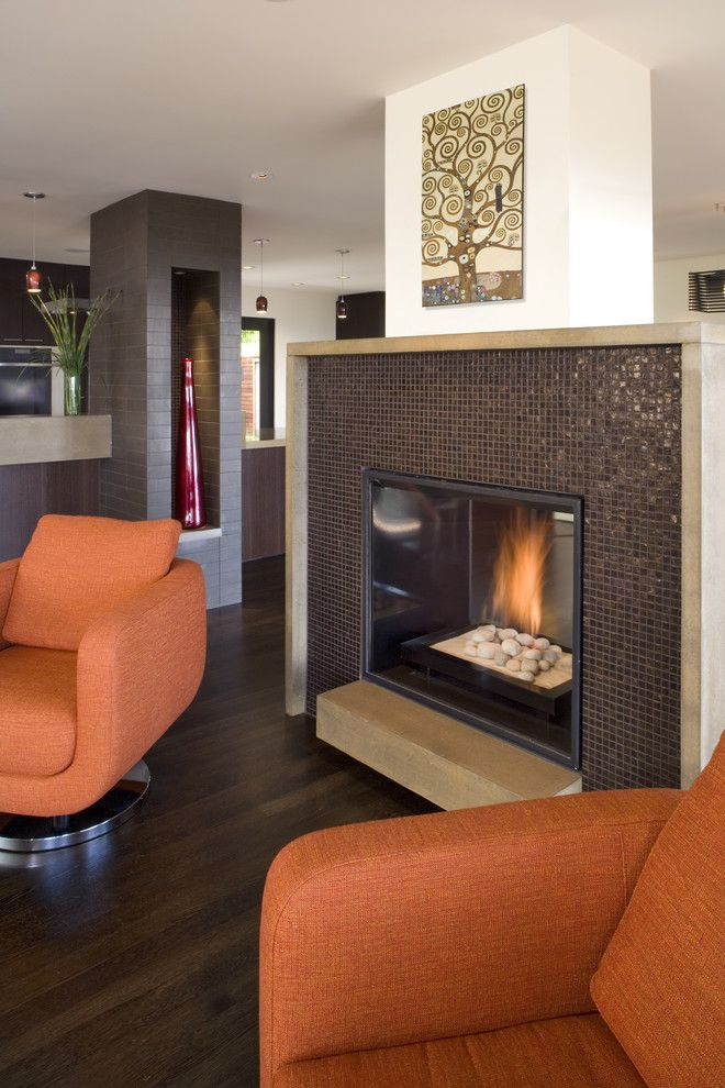 Olathe Glass for a Contemporary Living Room with a Fireplace and Fireplace by Camber Construction