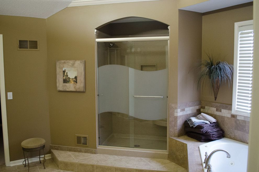 Olathe Glass for a Mediterranean Bathroom with a Etched Privacy Stripe and Bathroom Remodel Olathe by Glass Design Llc