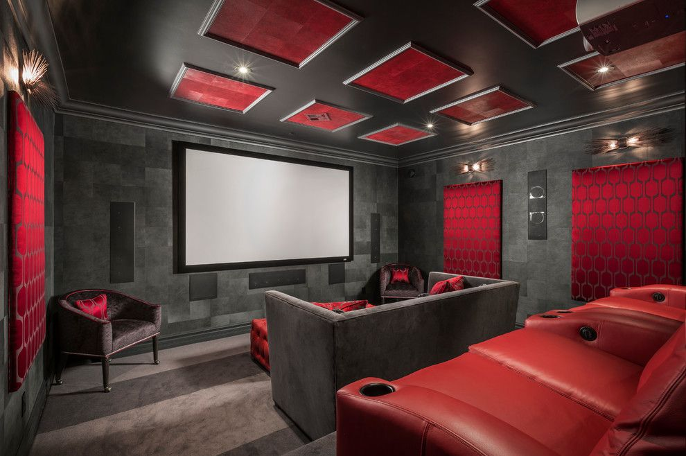 Pacesetter Homes for a Contemporary Home Theater with a Black and Red and Firerock Country Club by Chris Jovanelly Interior Design