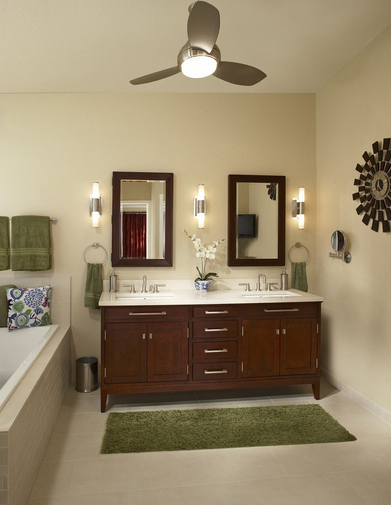 Paris Texas Hardware for a Contemporary Bathroom with a Furniture Vanity and Southlake Texas Bathroom Remodel by Usi Design & Remodeling