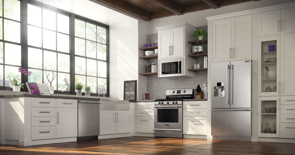 Paris Texas Hardware for a Contemporary Kitchen with a Wood Ceiling and Frigidaire by Frigidaire®