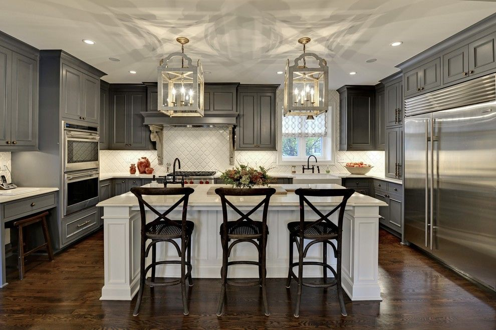 Paris Texas Hardware for a Traditional Kitchen with a Desk in Kitchen and Kitchen Renovations by Revision LLC