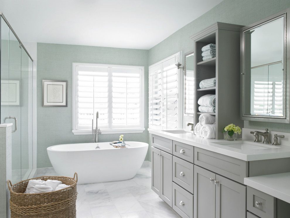 Polyblend Grout Colors for a Transitional Bathroom with a Double Sinks and Harbour Point Marina by Krista Watterworth Design Studio