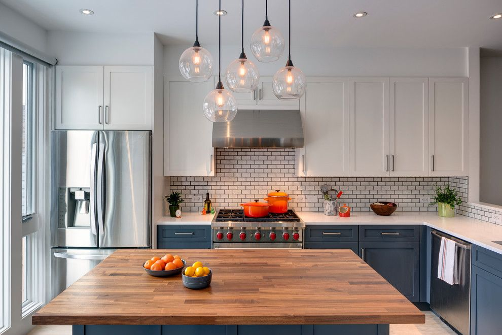 Polyblend Grout Colors for a Transitional Kitchen with a Walnut Counter Top and Sunset Park, Brooklyn Rowhouse by Barker Freeman Design Office Architects Pllc