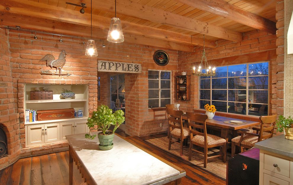 Potomac Valley Brick for a Farmhouse Dining Room with a Adobe and Historic Adobe Kitchen by Lisa Gildar Interior Spaces