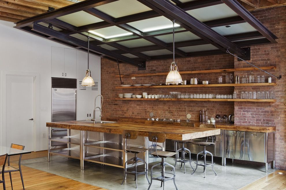 Potomac Valley Brick for a Industrial Kitchen with a Concrete and Jane Kim Design by Jane Kim Design