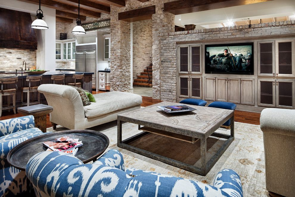 Potomac Valley Brick for a Traditional Family Room with a Exposed Brick and Lake Austin by Luis Jauregui