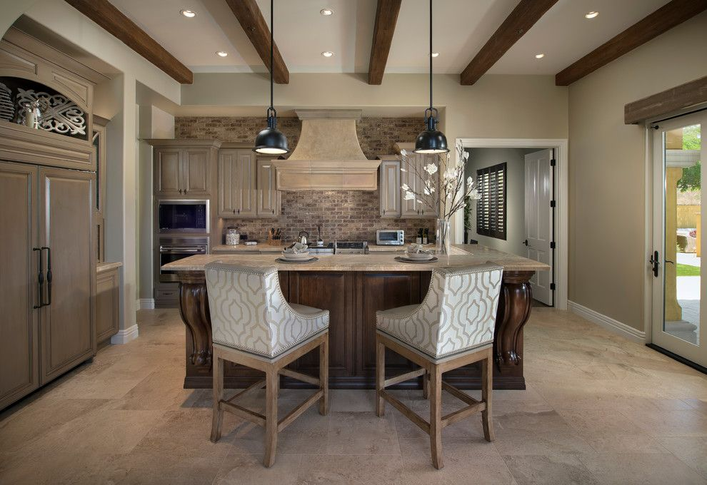 Potomac Valley Brick for a Transitional Kitchen with a Kitchen Cabinets and Silverleaf Scottsdale Custom Kitchen by Luster Custom Homes & Remodeling