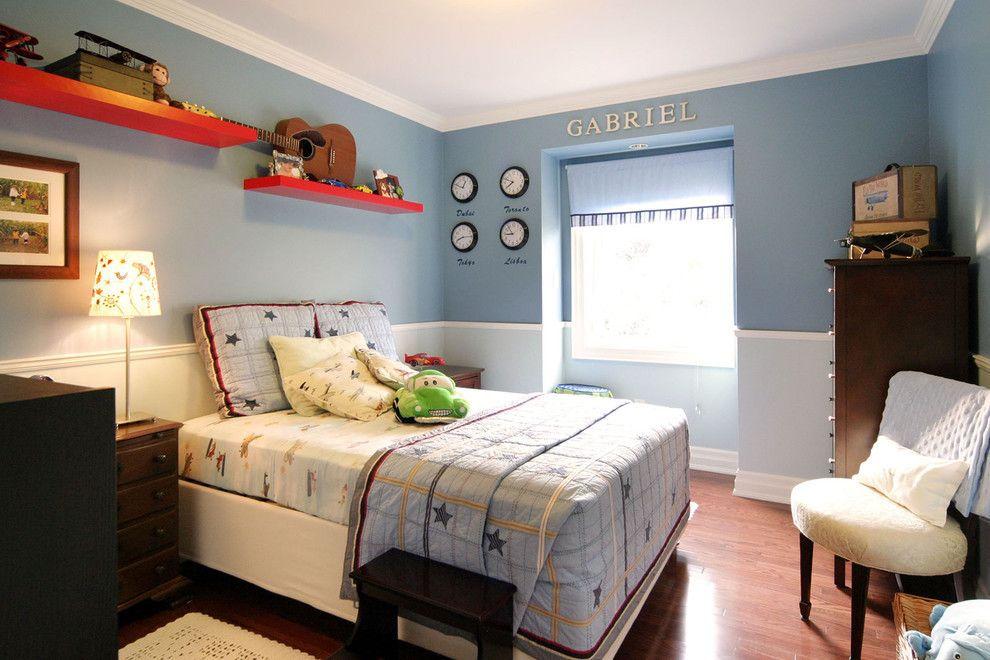 Pottery Barn Room Planner for a Contemporary Kids with a Chair Rail and Gabriels Space by M Design