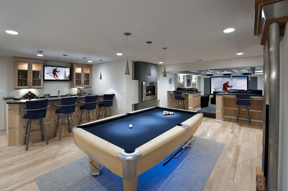 Poway Theater for a Contemporary Basement with a Barstools and Ashburn Contemporary Basement   Pool Area & Bar by Synergy Design & Construction