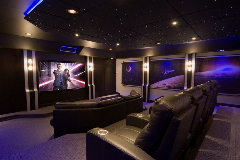 Poway Theater for a Contemporary Home Theater with a Screening Room and the Final Frontier by Gramophone