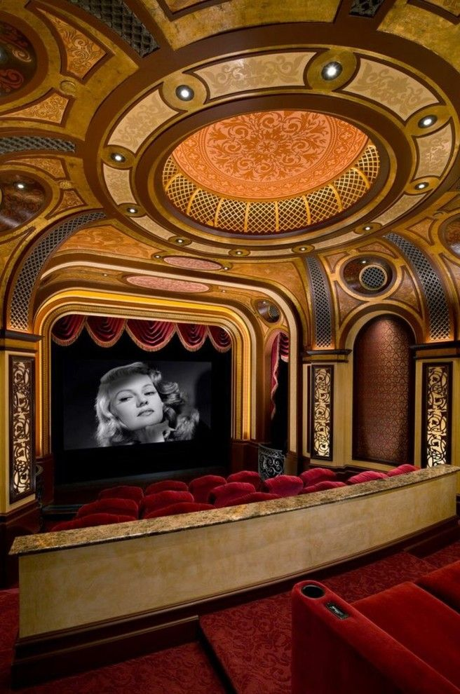 Poway Theater for a Mediterranean Home Theater with a Cove Lighting and Pelican Pointe Residence by Kelly Peart Construction Management Co.