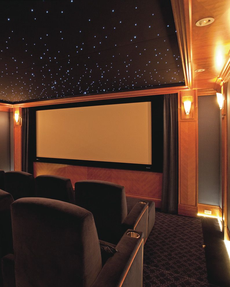 Poway Theater for a Traditional Home Theater with a Private Movie Theatre Paneling Film and Home Theatre by Mayta & Jensen