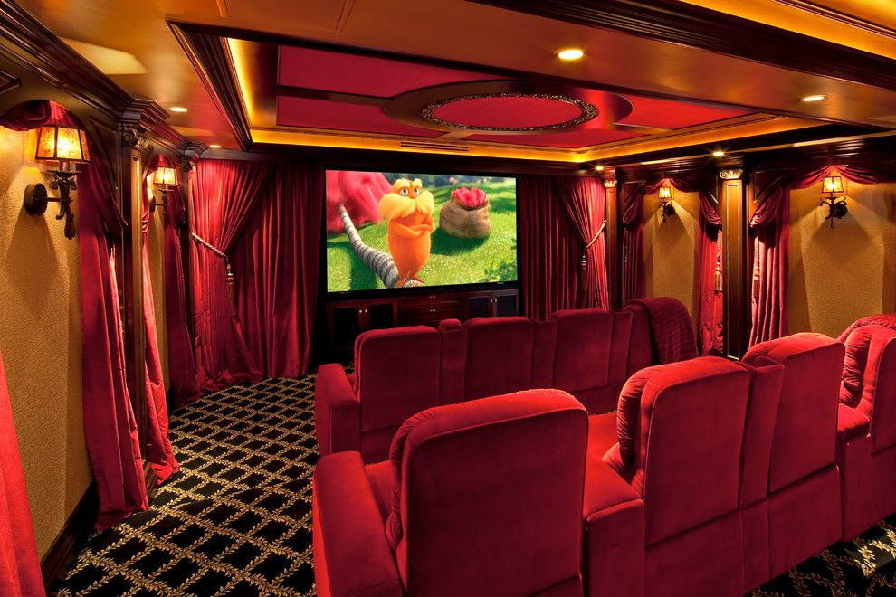 Poway Theater for a Traditional Home Theater with a Traditional Theater in Burgundy and Gold and Traditional Media Room by Blisshta.com