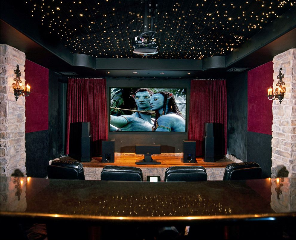Poway Theater for a Traditional Home Theater with a Wood Stage and Home Theater by Creative Sound and Integration